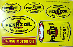 """Pennzoil Racing Oil - Vintage 1960's 70's Racing Decal/sticker Sheet 7""""x 4.5"""""""