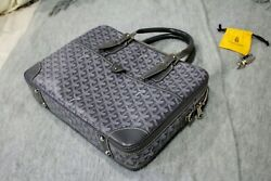 GOYARD AMBASSADE MM Business Bag Brief Case Messenger Leather Grey $2099.00