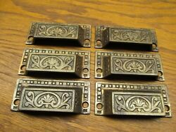 6 Old Cast Iron Drawer Pulls...appothecary Cabinet Drawer Pulls...ornate