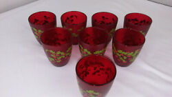 8 - Vintage H J Stotter Plastic Glasses - Christmas Hollies And Berries