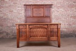 Antique Eastlake Victorian Burled Walnut Full Size Bed Circa 1880s
