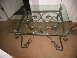 Oval Glass Top Coffee Table And Two End Tables