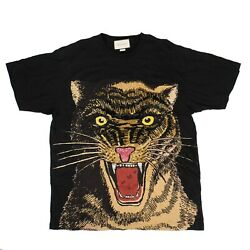 New Black Cotton Tiger Embroidered Design Over-sized T-shirt Size Xl 1500