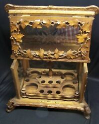 Antique Black Forest Tantalus Liquor Cabinet - Highly Carved W/etched Glass