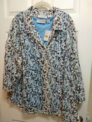 Nwt Sag Harbor 3x Lace Blouse And Tank Set Blue White Brown ¾ Sleeve Blouse