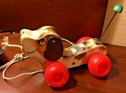 Fisher-price Vintage Little Snoopy Wood Pull Toy Beagle Dog 693 7.5
