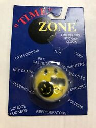 Time Zone Lcd Stick On Clock Vintage Sad/happy Smiley Face. Free Shipping.