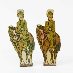 Marx Set Of 2 Vintage Tin Lithograph 5 Mounted Soldiers U.s. Cavalry Wwi 4.25