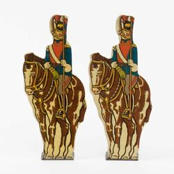 Set Of 2 Vintage Marx Tin Lithograph Soldiers 15 Uhlan Prussian Cavalry 4.25