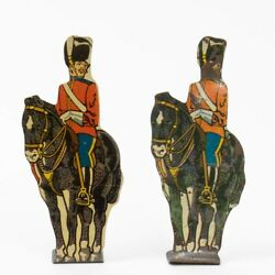 Set Of 2 Marx Vintage Tin Lithograph Soldiers On Horses 10 Royal Scots Greys