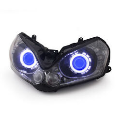 Kt Led Angel Eye Hid Headlight Assembly For Kawasaki Concours14 2008 -2017 Blue