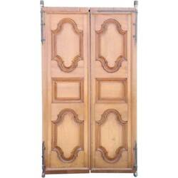 Large Antique Anglo Indian Solid Teak Paneled Double Door 18th Century