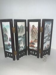 Vintage Asian Table Top Miniature Room Divider Screen Hand Painted Oriental