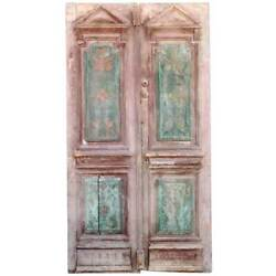 Antique Rustic French Style Painted Pine Double Door 19th Century