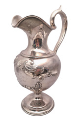 Silver Ewer With Flower And Scroll Design By Krider Circa 1850