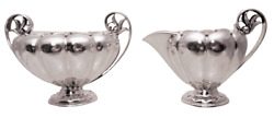 Georg Jensen Sterling Silver Creamer And Sugar Bowl