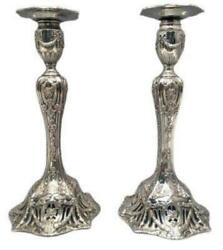 Pair Of Sterling Silver Candlesticks By Theodore B. Starr 20th Century