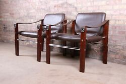 Maurice Burke For Pozza Mahogany And Leather Safari Chairs, Pair