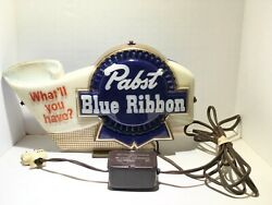 Vintage Pabst Blue Ribbon Light Up Beer Sign What'll You Have Working Condition