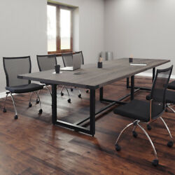 8ft - 16ft Modern Conference Room Table And Chairs Set With Metal Optional Power