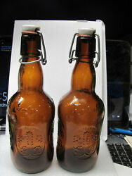 Nice Set Of 2 Amber Grolsch Beer Bottle With Latched Ceramic Tops Pre-owned