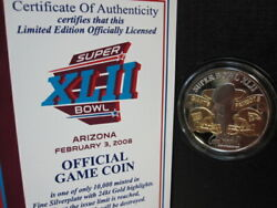 The Official Super Bowl 42 Game Coin--n.y. Giants Win--new England Patriots