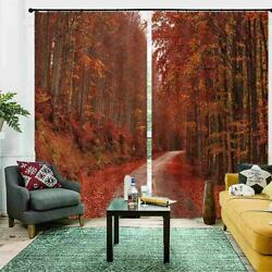 Great Red Maple Avenue 3d Blockout Photo Print Curtain Fabric Curtains Window