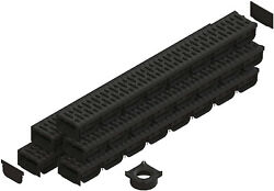 Standartpark - 4 Inch Trench Drain System With Grate - Black - Spark 2 5 Pack