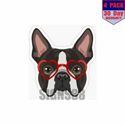 Boston Terrier Dog Hipster Glasses 4 pack 4x4 Inch Sticker Decal