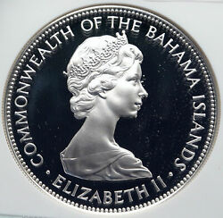 1972 Bahamas Huge Pirate Defeat Motto Vintage Proof Silver 5 Coin Ngc I85808