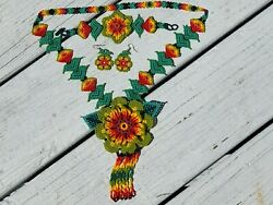 Beaded Huichol Jewelry Set Necklace Bracelet Earrings Rainbow Floral Mexican 875