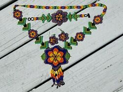 Beaded Huichol Jewelry Set Necklace Bracelet Earrings Rainbow Floral Mexican 877