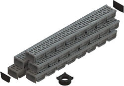 Standartpark - 4 Inch Trench Drain System With Grate - Gray - Spark 2 5