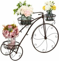 Vingli Tricycle Plant Stand Flower Pot Cart Holder Patio Stand Holder Outdoor