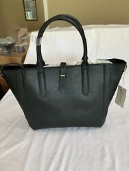 Black Vegan Faux Leather Tote Bag by Universal Thread New From Target $24.69