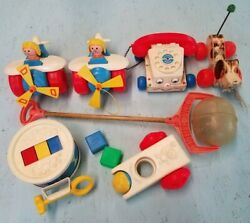 Fisher Price Vintage Toy Lot. Pull Airplane, Little Snoopy Dog, Drum, Telephone