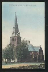 Postcard New Bremen Ohio/oh Early 1900's St Paul Church W/tall Bell Tower 1907