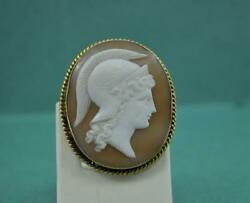 Antique Victorian Shell Cameo Brooch Athena Dexter Gold Frame Signed 36 X 30 Mm