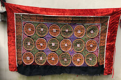Antique Vintage Mongolian Kazakh Handmade Embroidery Wall Hanging Tapestry 1988