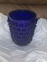 Pre-owned Lalique Crystal Mossi Vase Midnight Blue -clear Signed