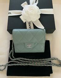 New Chanel Card Holder Clutch With Chain Pale Blue Caviar Leather Mini WOC 20B $1775.00