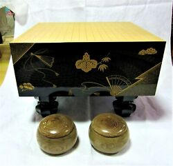 Japanese Goban Thick Board Wood Stone And Shell Japan High Craft Gold Makie