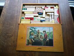 Antique Wooden Childs Play Set Building Set Dove Tailed Wooden Box 55 Pieces