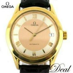 Omega Yg Round Watch Menand039s Yg/leather Silver Pink Gold At From Japan [e0826]