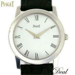 Wg Piaget Round Watch 5894 Mens Wg/leather White Dial Qz From Japan [e0826]