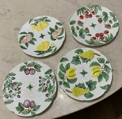 Malaga Hand Painted Fruit Majolica Plates Cardinal Inc Made In Philippines 4