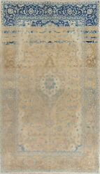 Antique Muted Traditional Distressed Hand-knotted Wool Floral Area Rug 6x11 Ft