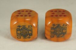 Vintage Jumbo Bakelite Poker Dice - 2 Square - Butterscotch With Veins Set Of 2