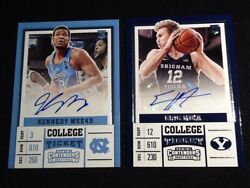 2 Lot College Ticket Eric Mika Autograph 106 And Kennedy Meeks 126 Basketball