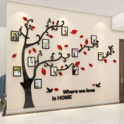 3d Diy Photo Frame Family Silver Tree Wall Decals Wall Stickers Mural Home Decor